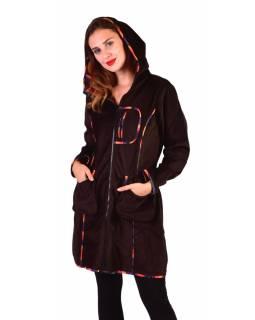 Hnědý manžestrový kabátek s kapucí, oranžové lemování, tři kapsy, bez podšívky