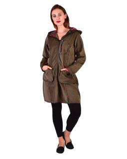 Khaki manžestrový kabátek s kapucí, červené lemování, tři kapsy, bez podšívky