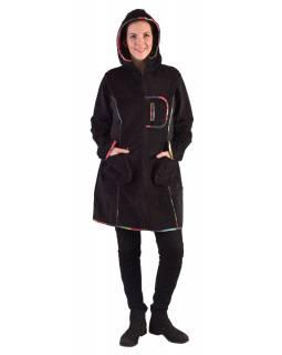 Černý manžestrový kabátek s kapucí, barevné lemování, tři kapsy, bez podšívky