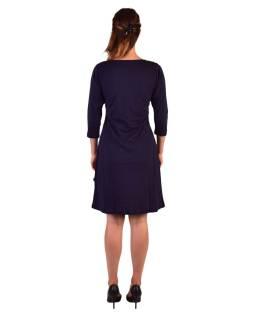 Krátké šaty s 3/4 rukávem, modré, potisk a výšivka Mandal, kulatý výstřih