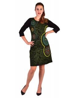 Krátké šaty s 3/4 rukávem, černo-zelené, potisk a výšivka Mandal, kulatý výstřih