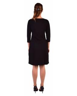 Krátké šaty, 3/4 rukáv, černé, potisk a výšivka barevných Mandal, kulatý výstřih