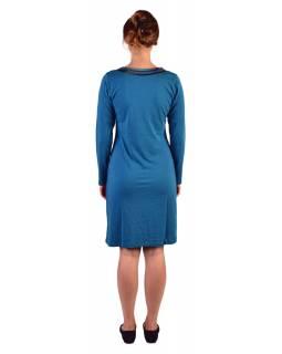 Krátké šaty s dlouhým rukávem, modré, potisk a pruhy