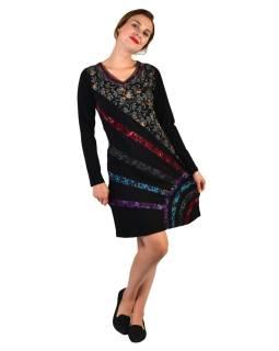 Krátké šaty s dlouhým rukávem, černé, potisk a pruhy