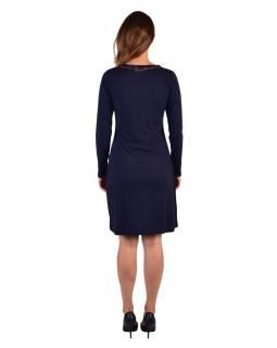 Krátké šaty s dlouhým rukávem, tmavě modré, potisk a pruhy