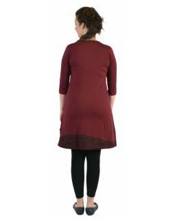 Krátké šaty, 3/4 rukáv, vínové, černo-vínový potisk květin, kulatý výstřih