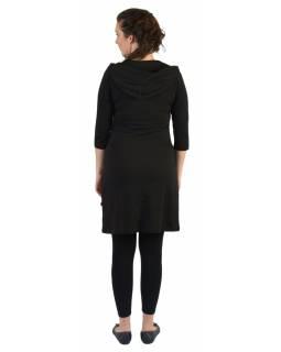 Krátké šaty, 3/4 rukáv, černé, barevné kruhy, šedé pruhy, kapuce