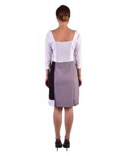 Krátké šaty, 3/4 rukáv, bílo-šedo-černé, potisk květin, gumičky na zádech
