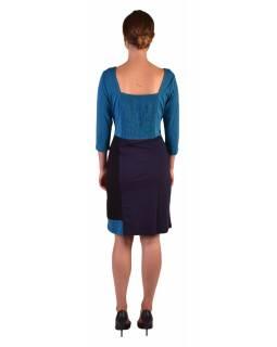 Krátké šaty, 3/4 rukáv, modro-černé, potisk květin, gumičky na zádech