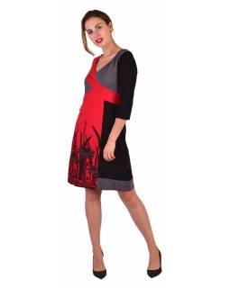 Krátké šaty, 3/4 rukáv, červeno-šedo-černé, potisk květin, gumičky na zádech