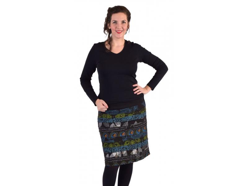 Krátká sukně, Áčkový střih, pruhy s potiskem, černá