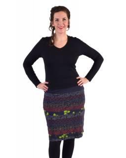 Krátká sukně, Áčkový střih, pruhy s potiskem, modrá