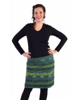 Krátká sukně, Áčkový střih, pruhy s potiskem, zelená