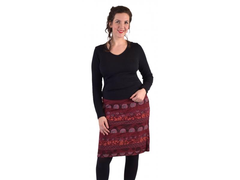 Krátká sukně, Áčkový střih, pruhy s potiskem, vínová