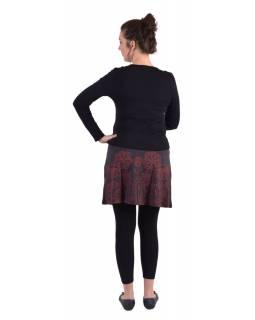 Krátká sukně, Áčkový střih, černo-šedá, červený potisk květin