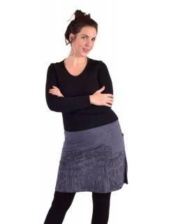 Krátká sukně, Áčkový střih, šedá, černý potisk květin