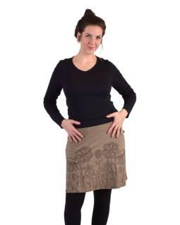 Krátká sukně, Áčkový střih, hnědo-olivová, hnědý potisk květin
