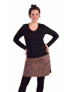 Krátká sukně, Áčkový střih, hnědo-vínová, černý potisk květin