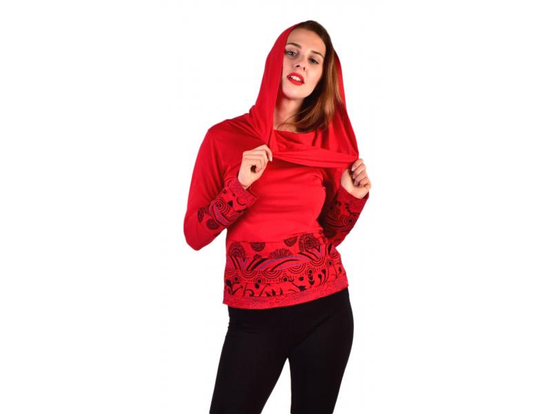 Červené triko, dlouhý rukáv, pruhy s potiskem, límec