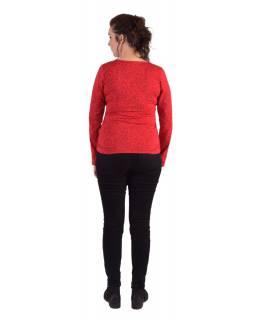 Tričko s dlouhým rukávem, potisk a výšivka, V výstřih, červené