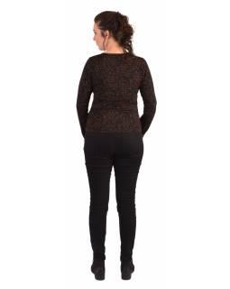 Tričko s dlouhým rukávem, potisk a výšivka, V výstřih, černé