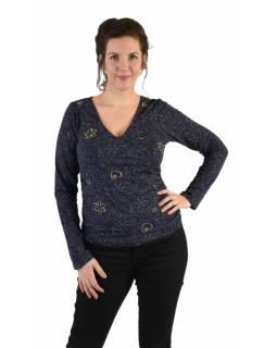 Tričko s dlouhým rukávem, potisk a výšivka, V výstřih, modré