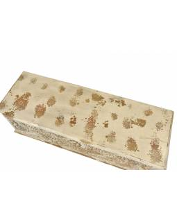 Truhla z teakového dřeva, zdobená ruční řezbou, 116x40x45cm