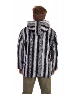 Unisex nepálská ghari bunda s kapucí, černobílá, podšívka, zapínání na zip
