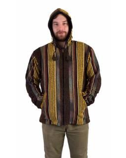 Unisex nepálská ghari bunda s kapucí, žlutá, podšívka fleece, zapínání na zip