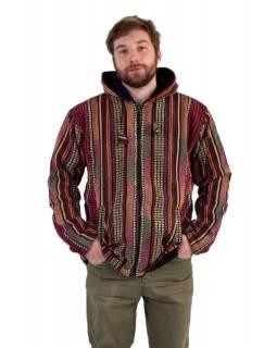 Unisex nepálská ghari bunda s kapucí, červená, podšívka fleece, zapínání na zip