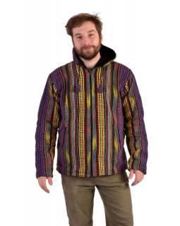 Unisex nepálská ghari bunda s kapucí, fialová, podšívka fleece, zapínání na zip