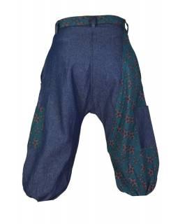 Modré tříčtvrteční turecké kalhoty s potiskem, zip a knoflík