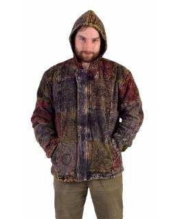 Pánská bunda s kapucí zapínaná na zip, potisk, stone wash