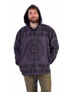 Pánská bunda s kapucí zapínaná na zip, šedá, potisk