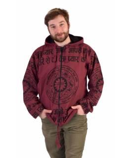Pánská bunda s kapucí zapínaná na zip, vínová, potisk