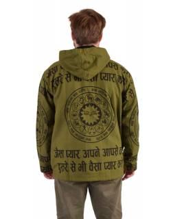 Pánská bunda s kapucí zapínaná na zip, zelená, potisk