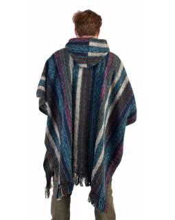 Tibetské pončo z česané bavlny, kapsy, kapuca, modré
