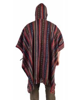 Tibetské pončo z česané bavlny, kapsy, kapuca, fialové