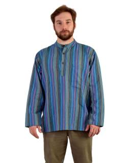 Pruhovaná pánská košile-kurta s dlouhým rukávem a kapsičkou, modro-fialová