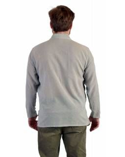 Jednobarevná pánská košile-kurta s dlouhým rukávem a kapsičkou, šedá