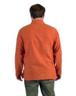 Jednobarevná pánská košile-kurta s dlouhým rukávem a kapsičkou, oranžová