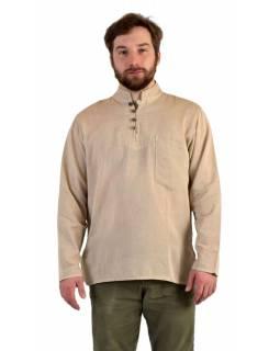 Jednobarevná pánská košile-kurta s dlouhým rukávem a kapsičkou, béžová