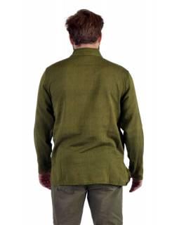 Jednobarevná pánská košile-kurta s dlouhým rukávem a kapsičkou, khaki