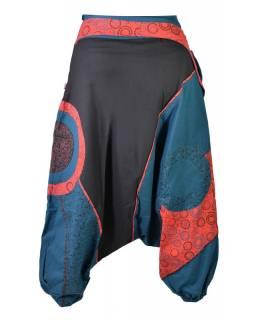 """Černo-červeno-modré turecké kalhoty, """"Steampunk design"""", opasek s kapsou, zip"""
