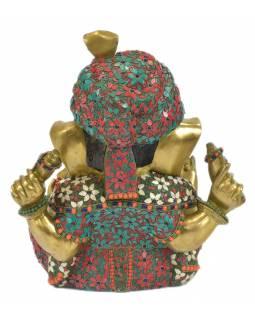Ganéš, unikátní socha zdobená polodrahokamy, mosaz, 39x22x44cm