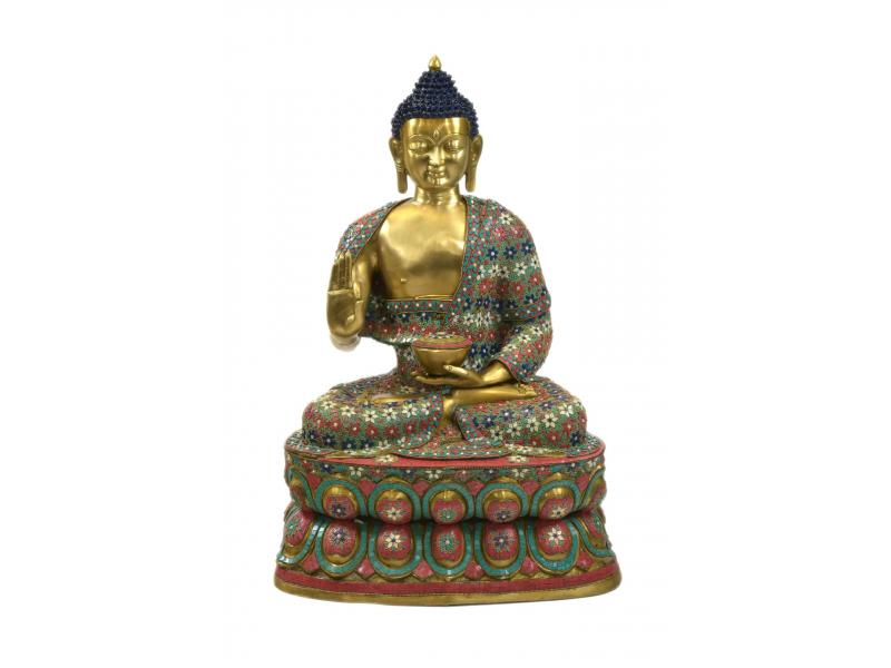 Buddha, kovová soška vykládaná polodrahokamy, 60x50x97cm