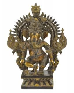 Ganéša, kovová socha, 28x10x37cm