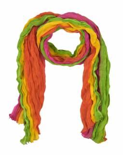 Šátek, batika, mačkaná úprava, multibarevný, 55x170cm