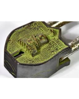 Visací zámek, hlava s kobrou, mosaz zelený antik, dva klíče, 8x4cm, klíč 6cm