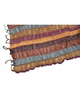 Šátek, wrap proužky, třásně, bavlna, 65x180cm